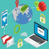 stock photo of vpn  - web isometric online safety data protection secure connection cryptography antivirus - JPG