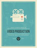 stock photo of production  - vintage poster for video production vector illustration - JPG