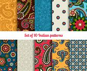 foto of east-indian  - Indian pattern set - JPG