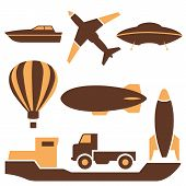 picture of air transport  - Set of colored icons transport air and ground vector illustration - JPG