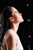 picture of nose drops  - Portrait of beautiful young woman in a water studio - JPG