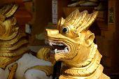 picture of yangon  - Chinthe leogryph protects the pagodaShwedagon Pagoda Yangon  - JPG