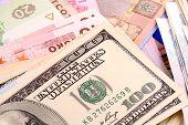 image of american money  - european money set background - JPG