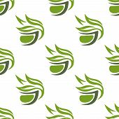 pic of leafy  - Abstract green or herbal tea seamless pattern with stylized tea cups decorated leafy branches on white background suitable for fabric or wrapping design - JPG