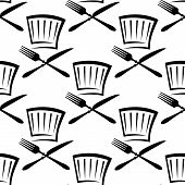 picture of chef knife  - Black and white seamless pattern background in outline sketch style with repeated motif of chef hat with fork and knife for menu design - JPG