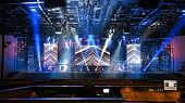 picture of stage theater  - Concert stage with lights and musical instruments - JPG