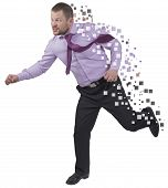 image of running-late  - Running businessman in a hurry on white isolated background - JPG