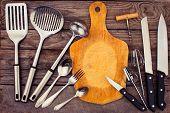 stock photo of kitchen utensils  - kitchen utensils on wooden background - JPG