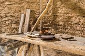 stock photo of viking  - Part of viking age village replica in southern Sweden in early spring - JPG