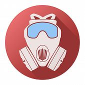 pic of respiration  - Flat icon of gas mask respirator - JPG