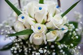 foto of rose close up  - beautiful tender bridal bouquet from white roses and other flowers close up  - JPG