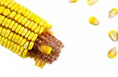 picture of corn  - Partially crumbled corn and corn grains isolated