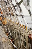 picture of  rig  - Image Of Running Rigging Alongside The Sailing Ship - JPG
