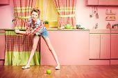 stock photo of 1950s style  - Pretty girl teenager wearing clothes and hair in pin - JPG