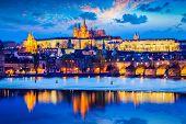 stock photo of nightfall  - Travel Prague Europe background  - JPG