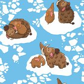 picture of mammoth  - Cartoon pattern with mammoths on the ice - JPG