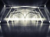 image of tunnel  - Abstract dark shining surreal tunnel interior background 3d illustration - JPG