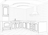 stock photo of interior sketch  - Facade kitchen vector sketch interior - JPG