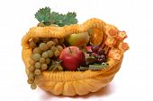 Pumpkin Basket Full Of Fruit