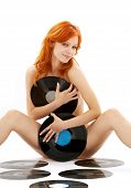 Naked Redhead With Vinyl Records