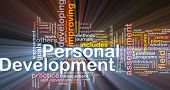 Background concept wordcloud illustration of personal development glowing light