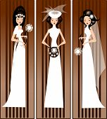 stock photo of matron  - illustration of three brides in the wedding dress - JPG