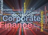 Background concept wordcloud illustration of  corporate finance glowing light