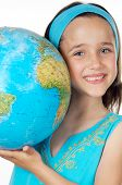 stock photo of world-globe  - Girl with a globe of the world over white background - JPG
