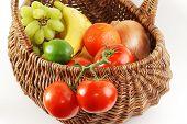 Antique Wicker Basket Of Fresh Produce