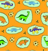 stock photo of paleontologist  - The cartoon dinosaur seamless pattern  background - JPG