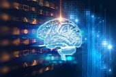 3D Rendering Of Human  Brain On Technology Background poster