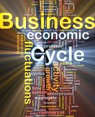 Background concept wordcloud illustration of business cycle glowing light