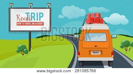 poster of Road Trip. Adventure Concept With Vacation Travel Driving Car On Highway Vector Urban Landscape Cart