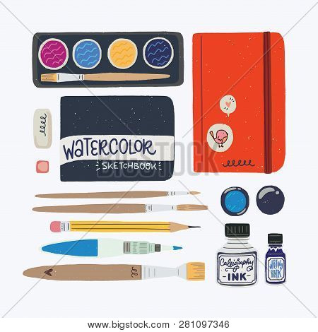 Set Of Tools For Watercolor