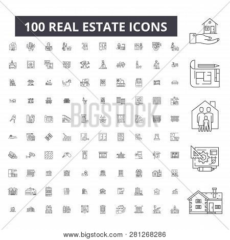 poster of Real Estate Editable Line Icons, 100 Vector Set, Collection. Real Estate Black Outline Illustrations