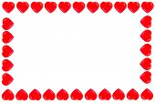 Valentines Day. Valentines day hearts isolated on white. Picture frame of red hearts. room for text. poster