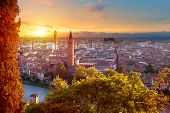 Beautiful Sunset Aerial View Of Verona. Veneto Region In Italy. Verona Sunset Cityscape. poster