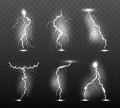 Night Lightning. Glow Stormy Weather Light Effects Power Energy Electricity Thunder Rain Strike In S poster
