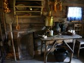 Old Farmhouse Kitchen Interior, Old Country House, Fireplace, Vintage Table. Ancient Kitchen Interio poster