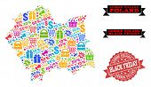 Black Friday Collage Of Mosaic Map Of Lesser Poland Province And Scratched Stamp. Vector Red Imprint poster
