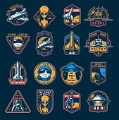 Vintage Space Colorful Emblems Set With Astronaut Spaceship Shuttle Alien Showing Peace Sign Cosmona poster
