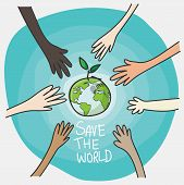 World Environment Day And Sustainable Environment Concept. Peoples Volunteer Hands Planting Green G poster
