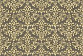Floral Pattern. Vintage Wallpaper In The Baroque Style. Seamless Background. Gold And Grey Ornament  poster