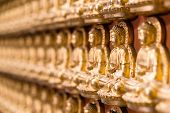 Wall In Temple Made By Thousand Of Small Golden Buddha Statue At Chinese Temple Named The Wat Borom  poster