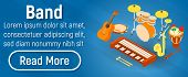 Band Concept Banner. Isometric Banner Of Band Concept For Web, Giftcard And Postcard poster