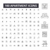 Apartment Editable Line Icons, 100 Vector Set, Collection. Apartment Black Outline Illustrations, Si poster