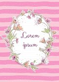 Vector Pastel Coloured Pink Card Template. Hand Drawn Flower Wreath On Striped And Splattered Pink B poster