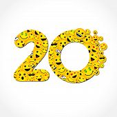 20 Th Years Old Congrats. Isolated Yellow Abc Letter O Logotype. Abstract Web Graphic Symbol Of 20 % poster
