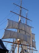 stock photo of yardarm  - Moored in San Diego this ship formed part of the Maritme Museum - JPG
