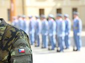 Army Soldier Uniform With Flag Of The Czech Republic In Prague During The Changing Of The Guard In T poster